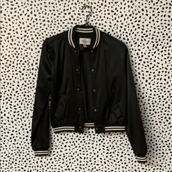 American Eagle Outfitters Jackets & Blazers - AEO Black Satin Bomber Jacket